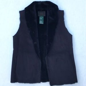Ralph Lauren Faux Fur/ Suede Black Vest - Small